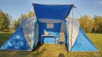 Палатка кемпинговая четырехместная с тамбуром и навесом Lanyu LY-1699, 450х220х180 см
