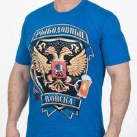 Мужская хлопковая футболка с рыбацким гербом.(Синяя) 48(М)