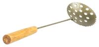 Черпак рыболовный металлический окрашенный с деревянной ручкой